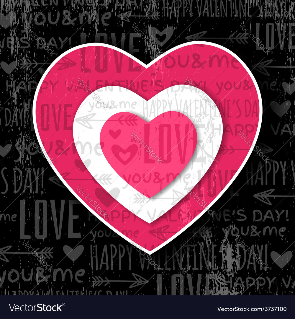 Black background with red valentine heart vector | Price: 1 Credit (USD $1)