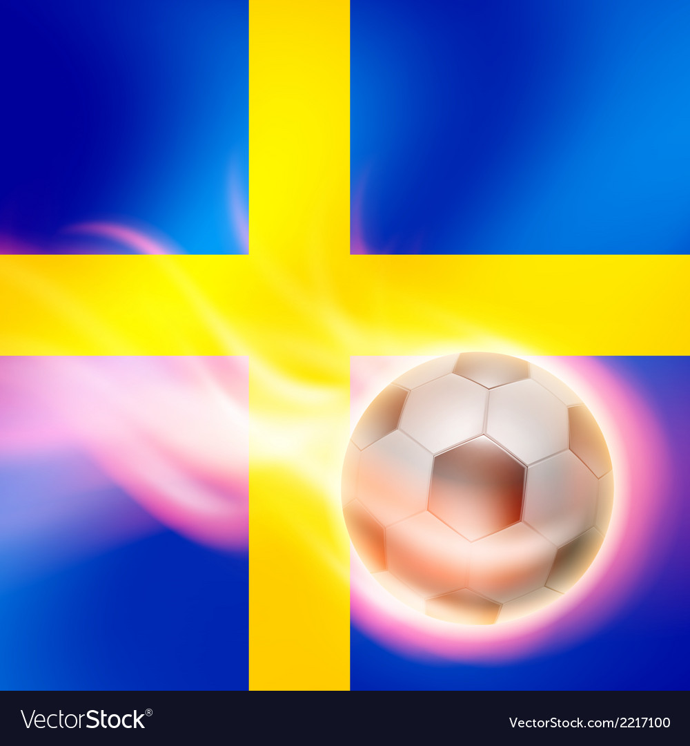 Burning football on sweden flag background vector | Price: 1 Credit (USD $1)