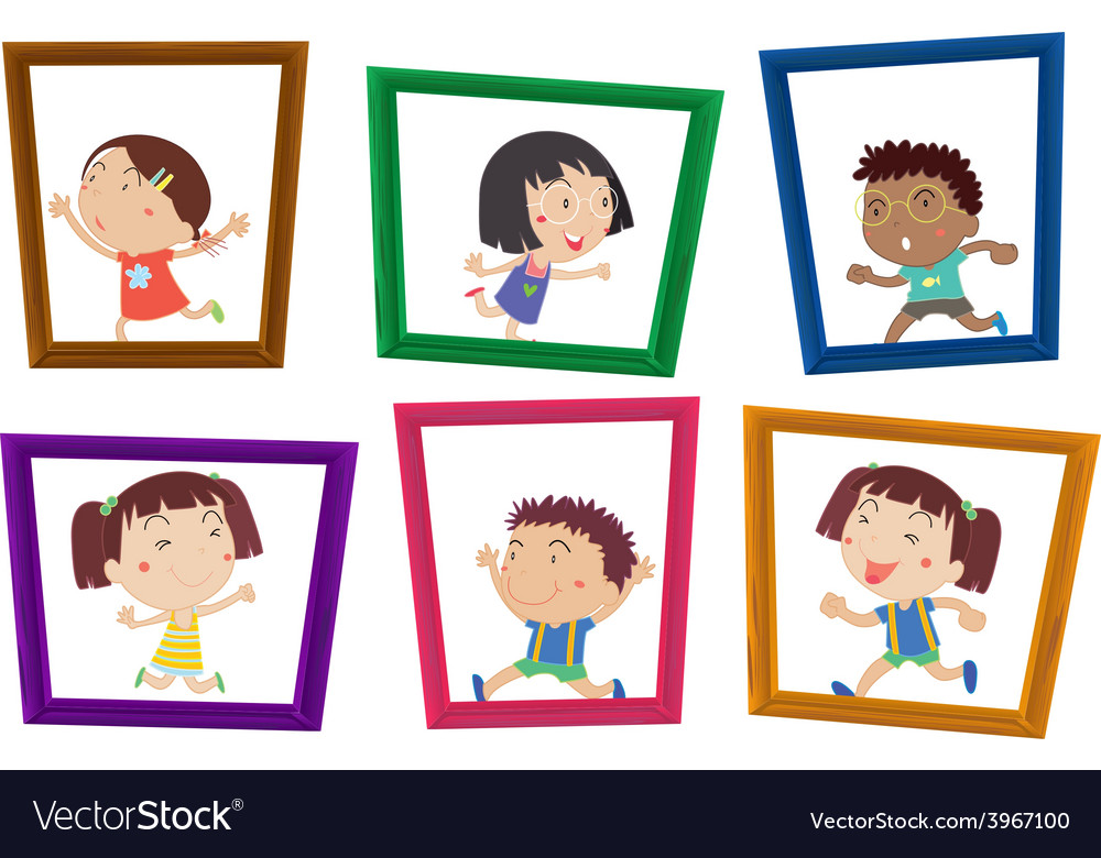 Children and photo frames vector | Price: 1 Credit (USD $1)