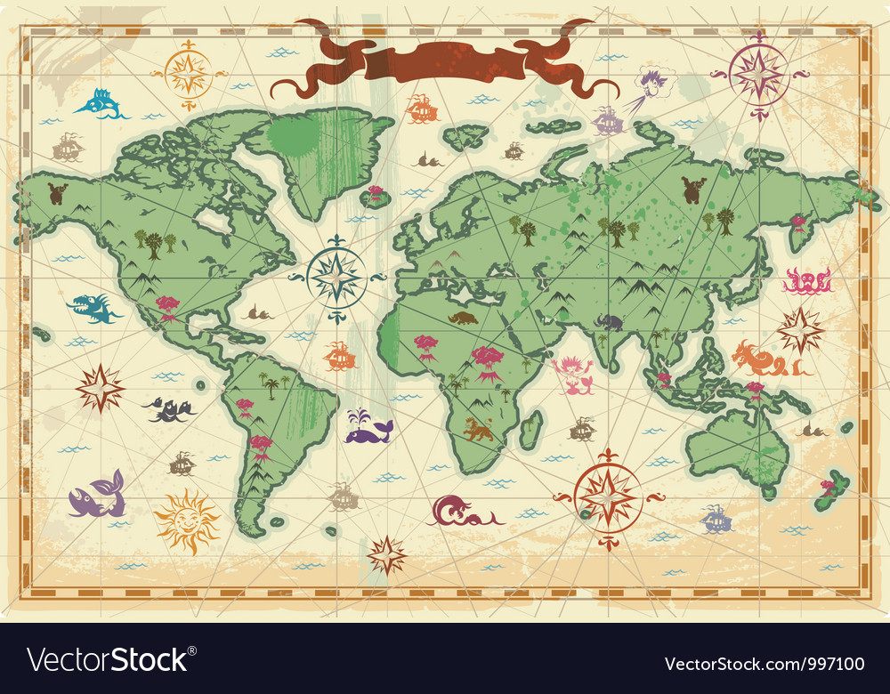 Colorful ancient world map vector | Price: 1 Credit (USD $1)
