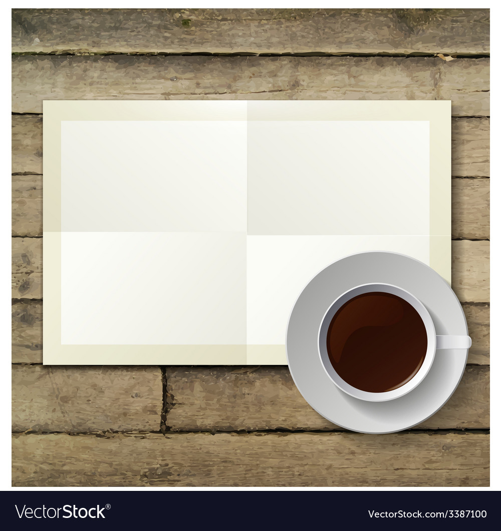 Cup of hot coffee and note paper on wood vector | Price: 1 Credit (USD $1)