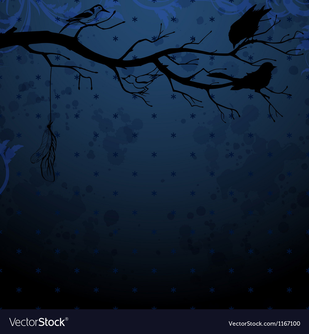 Dark blue background with tree branch and birds vector | Price: 1 Credit (USD $1)