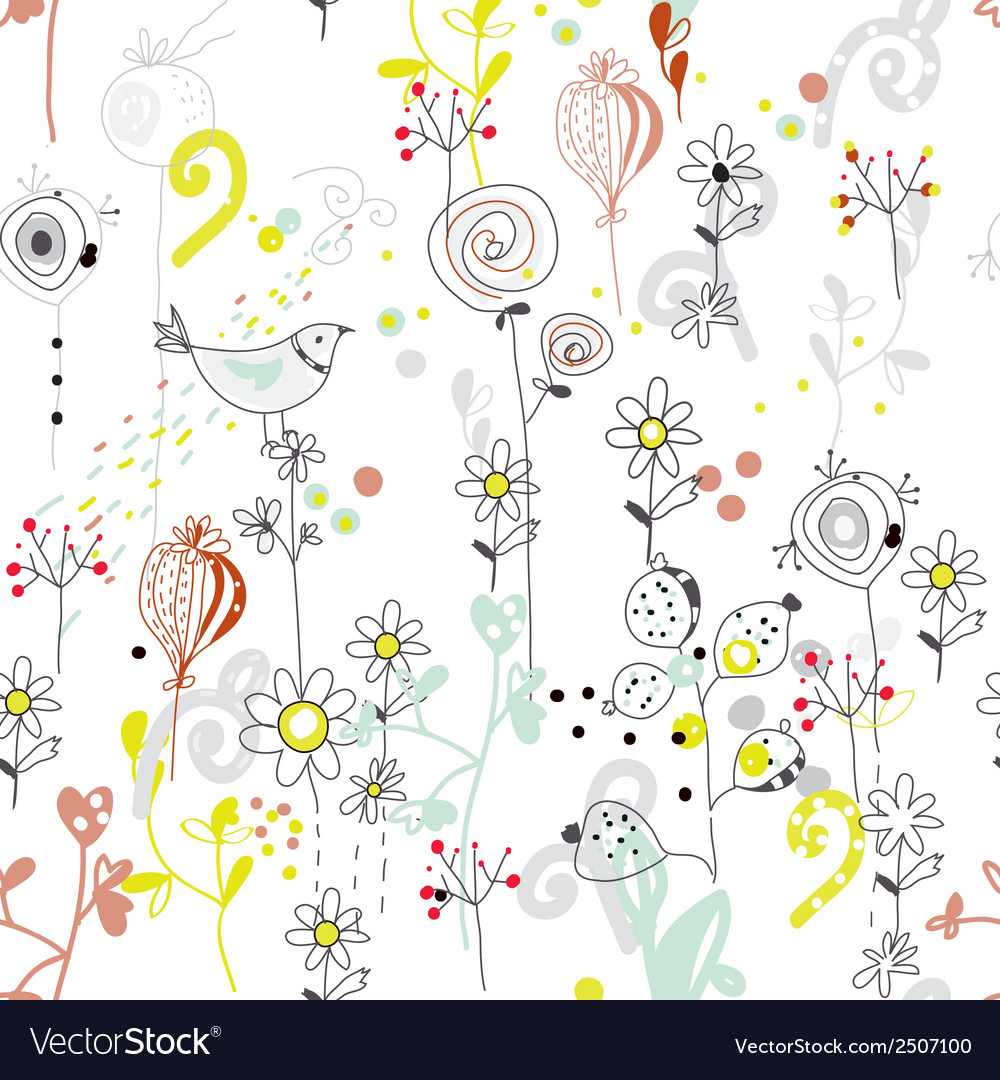 Floral seamless pattern with bird sketch vector | Price: 1 Credit (USD $1)
