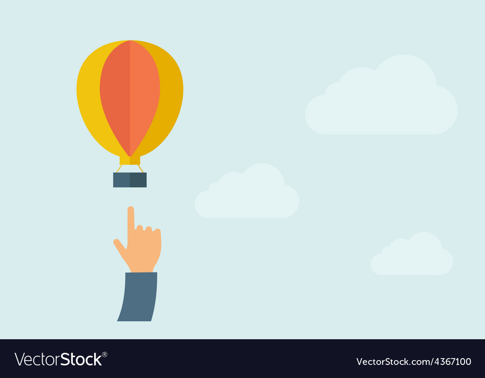 Hand pointing hot air balloon vector | Price: 1 Credit (USD $1)