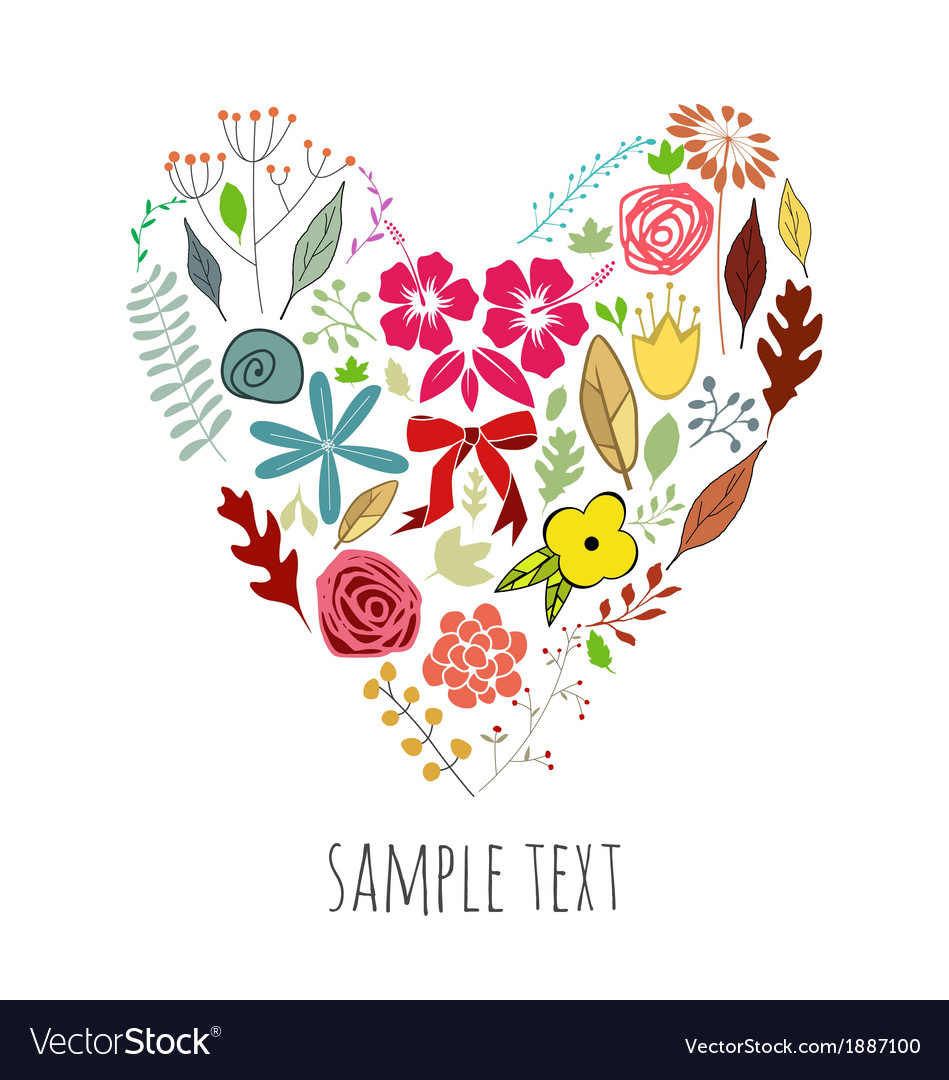 Heart shape with flowers vector | Price: 1 Credit (USD $1)