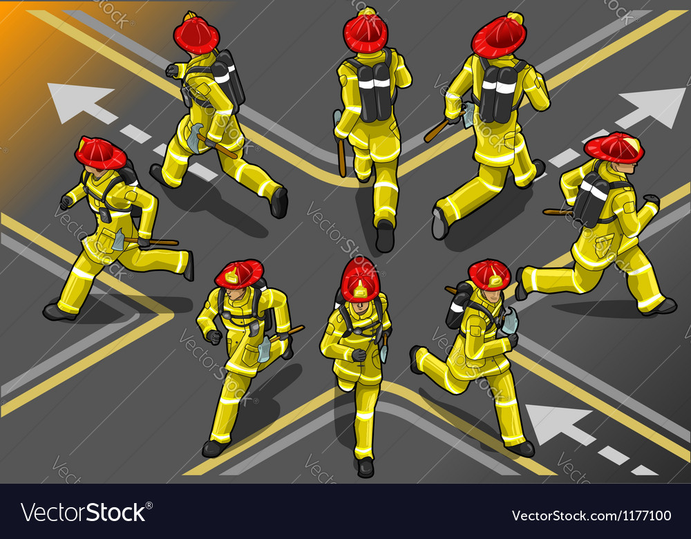 Isometric runner firefighter in eight position vector | Price: 5 Credit (USD $5)