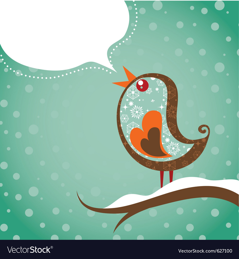 Retro christmas background with bird vector | Price: 1 Credit (USD $1)