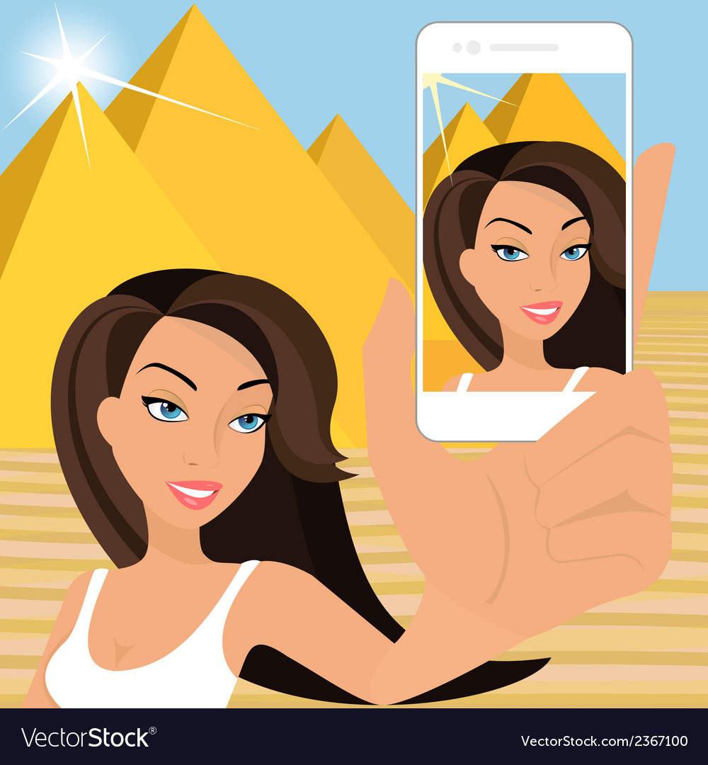 Tanned woman is taking selfie vector | Price: 1 Credit (USD $1)