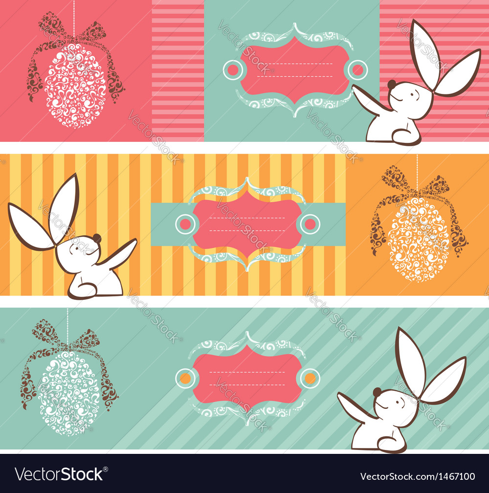 Tribal egg and easter bunny banners set vector | Price: 1 Credit (USD $1)