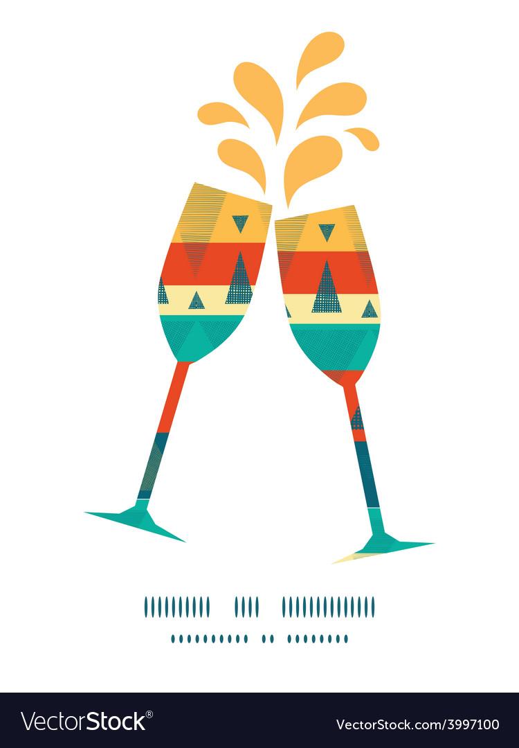 Vibrant ikat stripes toasting wine glasses vector | Price: 1 Credit (USD $1)