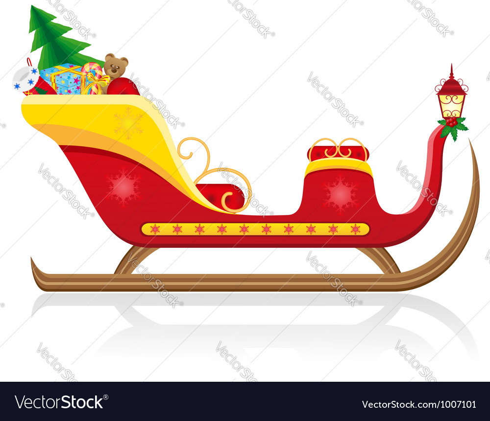 Christmas santa sleigh 02 vector | Price: 1 Credit (USD $1)