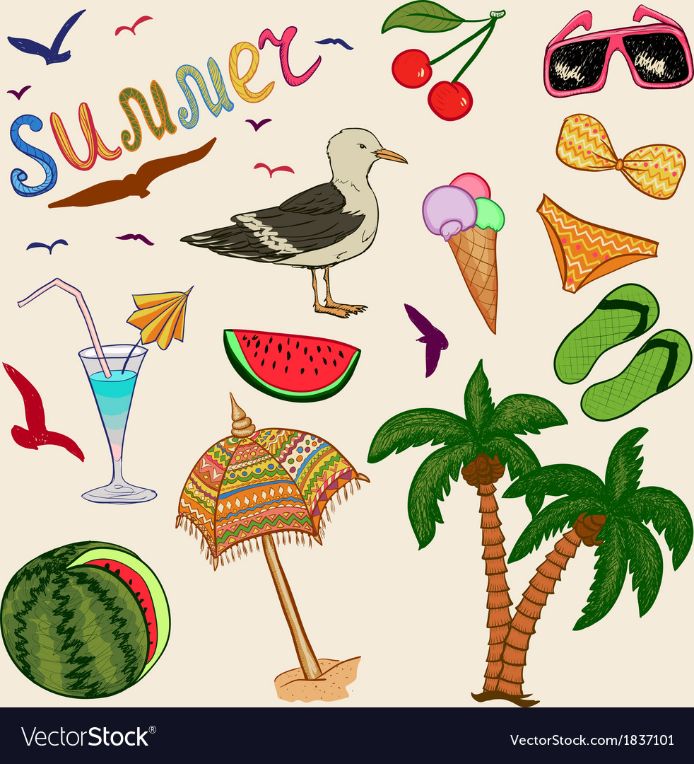 Colorful summer set vector | Price: 1 Credit (USD $1)