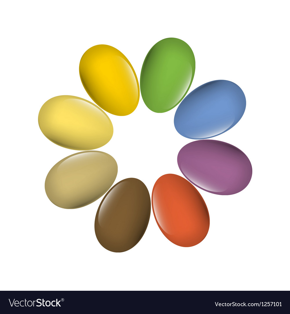 Easter eggs multi colored vector | Price: 1 Credit (USD $1)