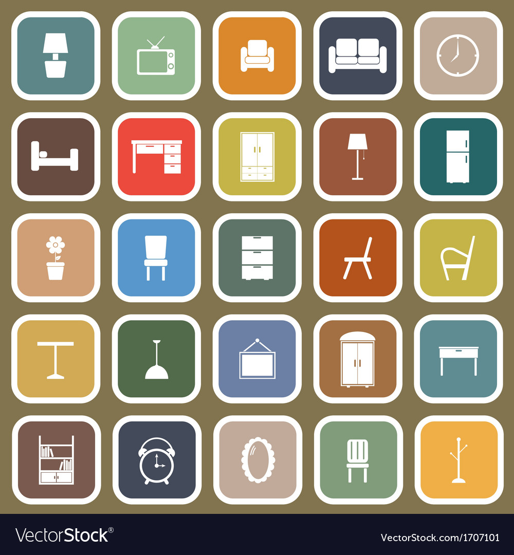 Furniture flat icons on brown background vector | Price: 1 Credit (USD $1)