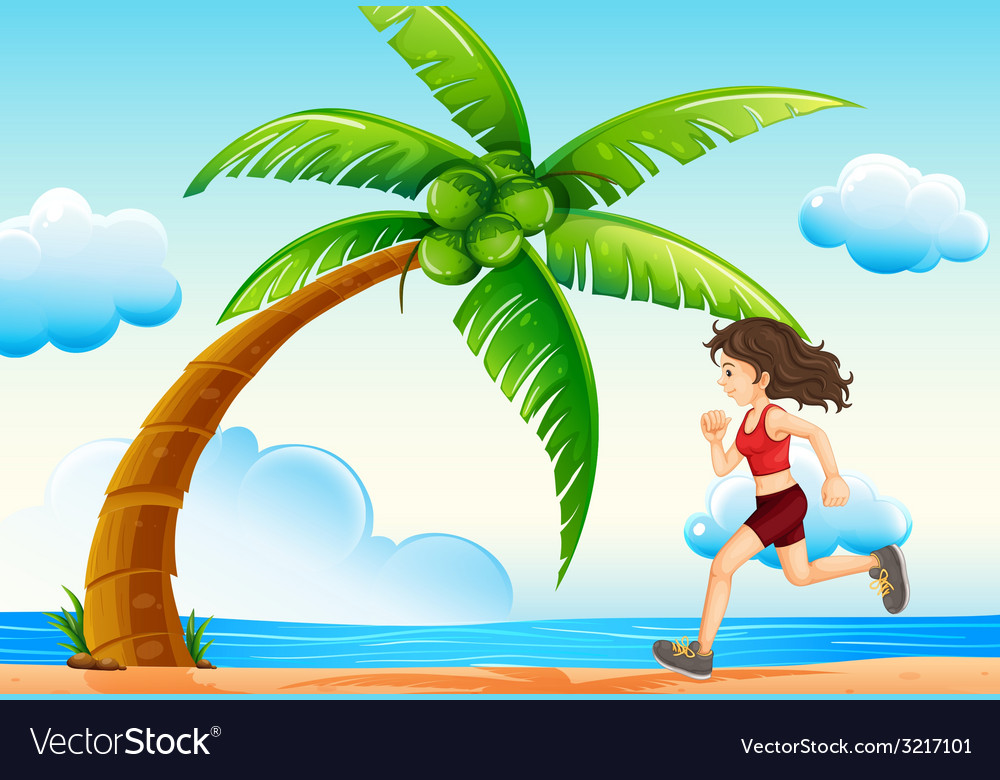 Girl and beach vector | Price: 1 Credit (USD $1)