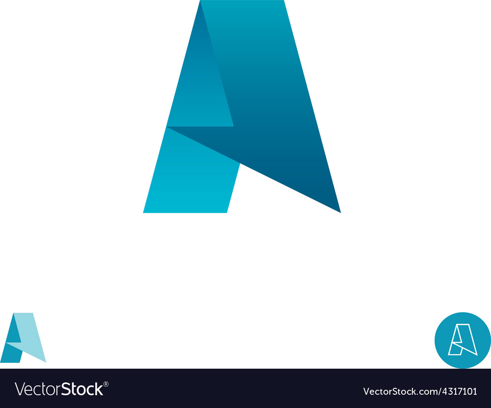 Letter a logo arrow half paper ribbon concept vector | Price: 1 Credit (USD $1)