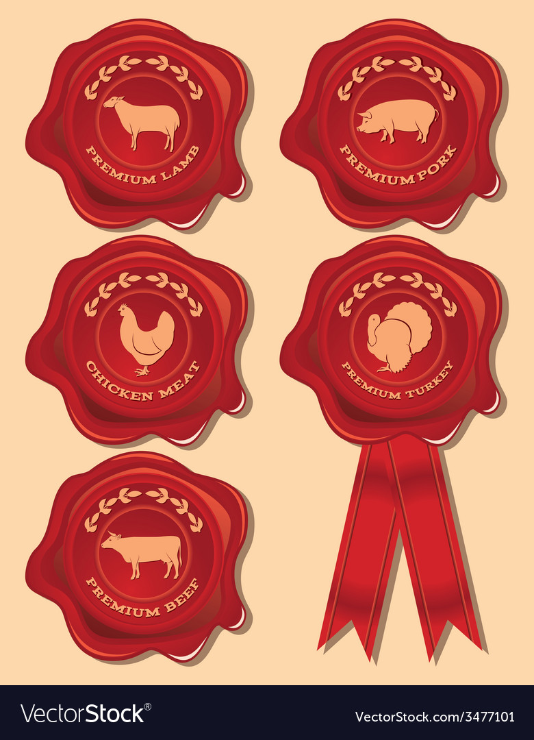 Set of patterns red seal with farm animals and bir vector | Price: 1 Credit (USD $1)