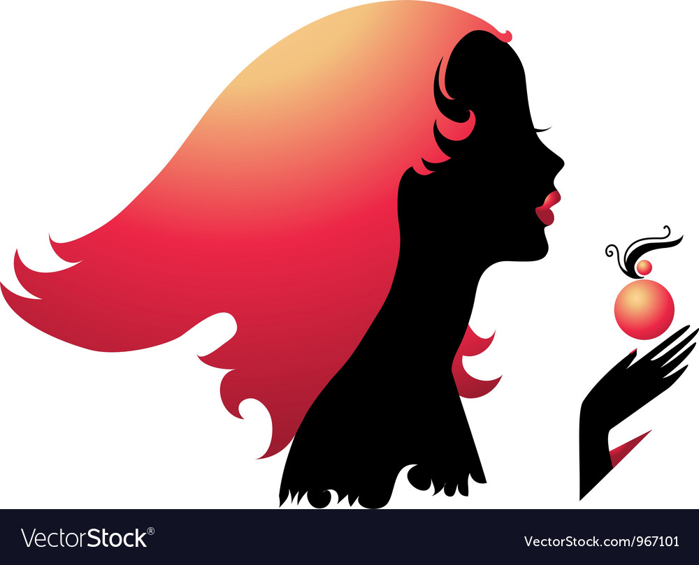 Silhouette of girl with perfume vector | Price: 1 Credit (USD $1)