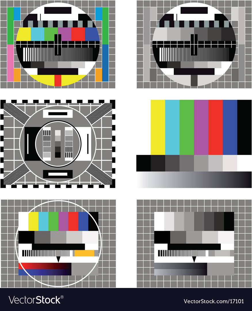 Six television test screen vector