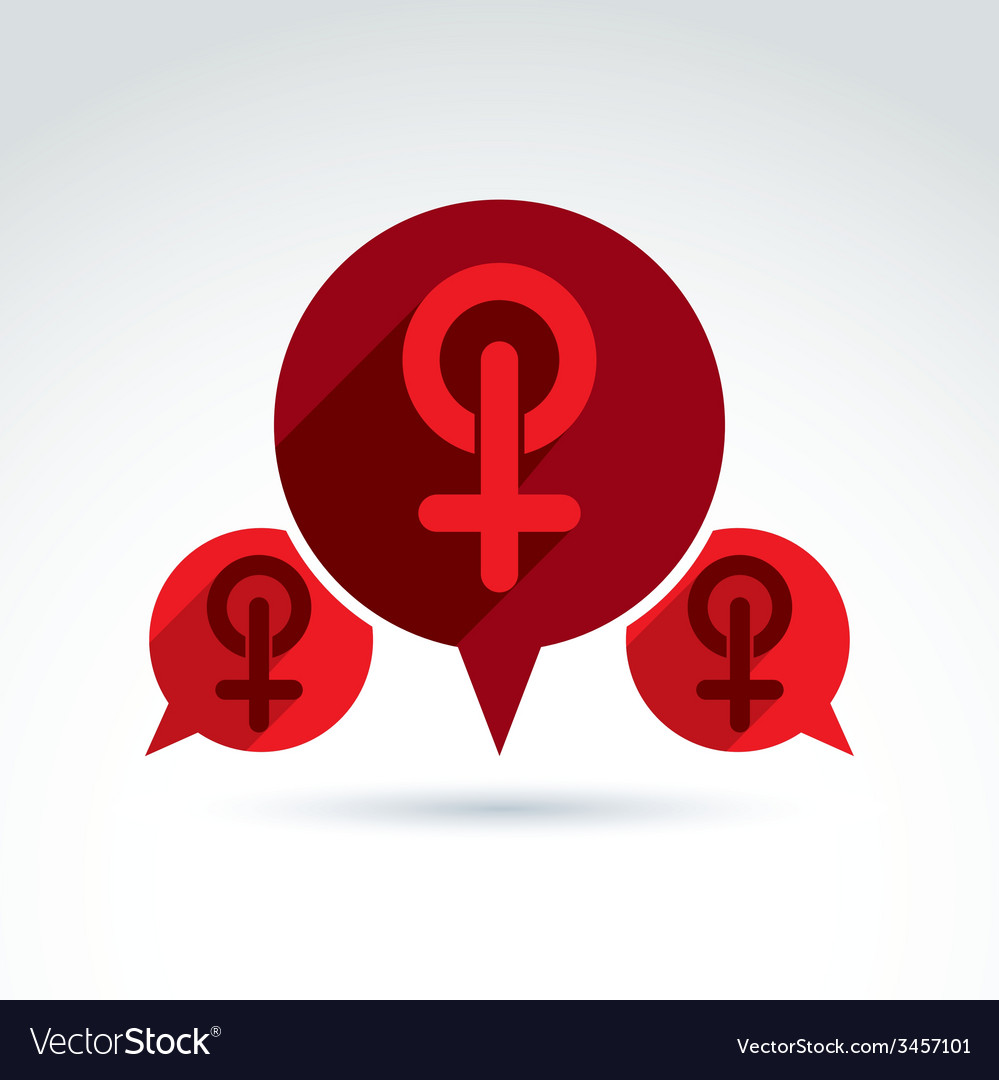 Speech bubble with a red female sign woman gender vector | Price: 1 Credit (USD $1)