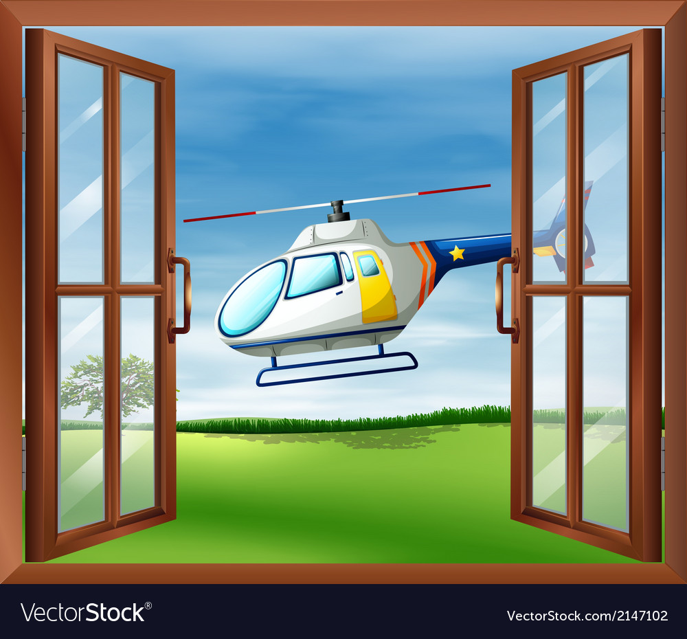A helicopter outside the window vector | Price: 1 Credit (USD $1)