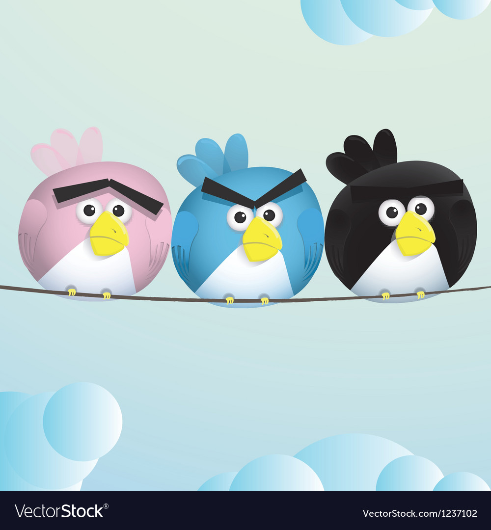 Birds angry sad espression vector | Price: 1 Credit (USD $1)
