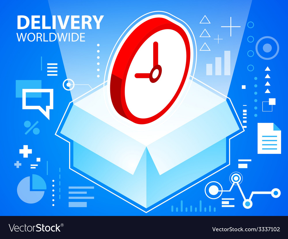 Bright delivery box and clock on blue backgr vector | Price: 3 Credit (USD $3)