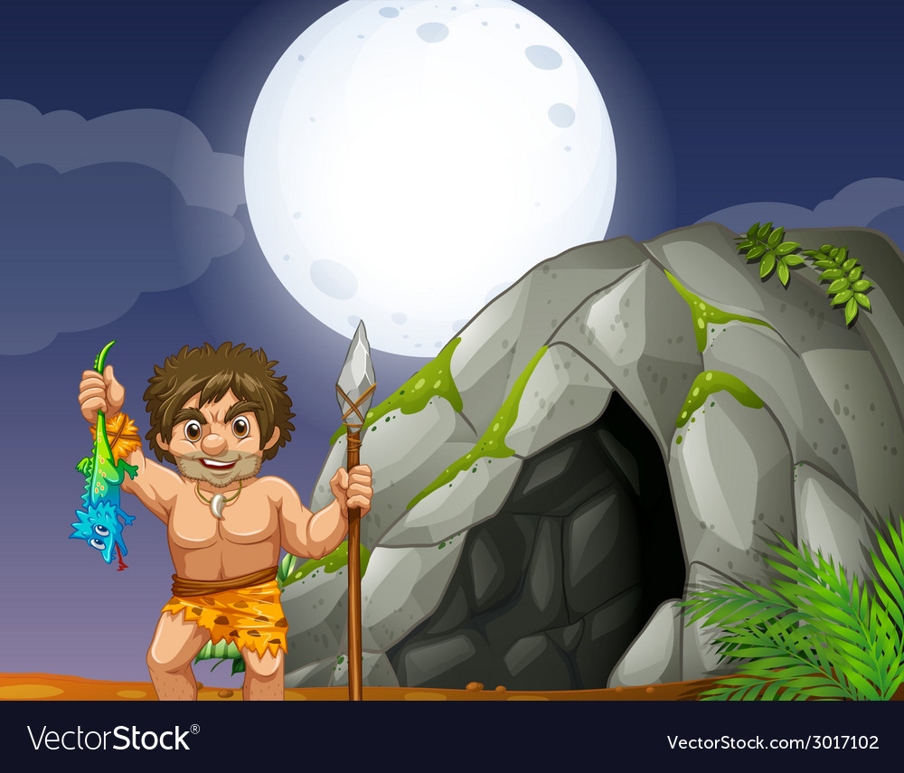 Cave and caveman vector | Price: 1 Credit (USD $1)