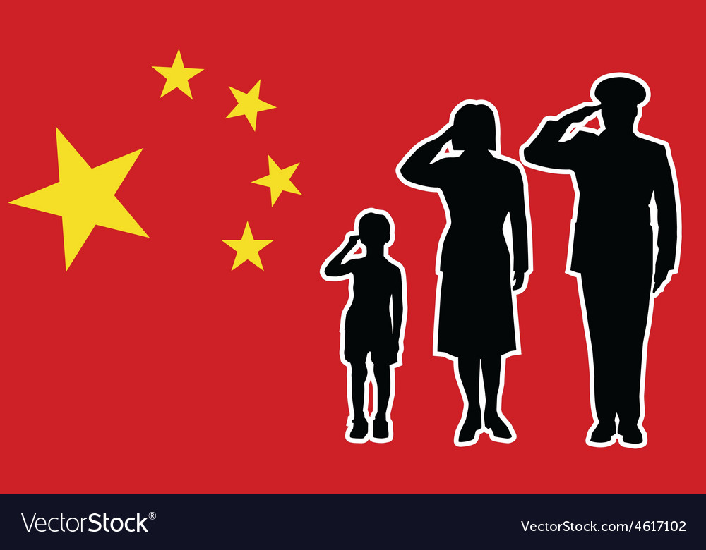 China soldier family salute vector | Price: 1 Credit (USD $1)