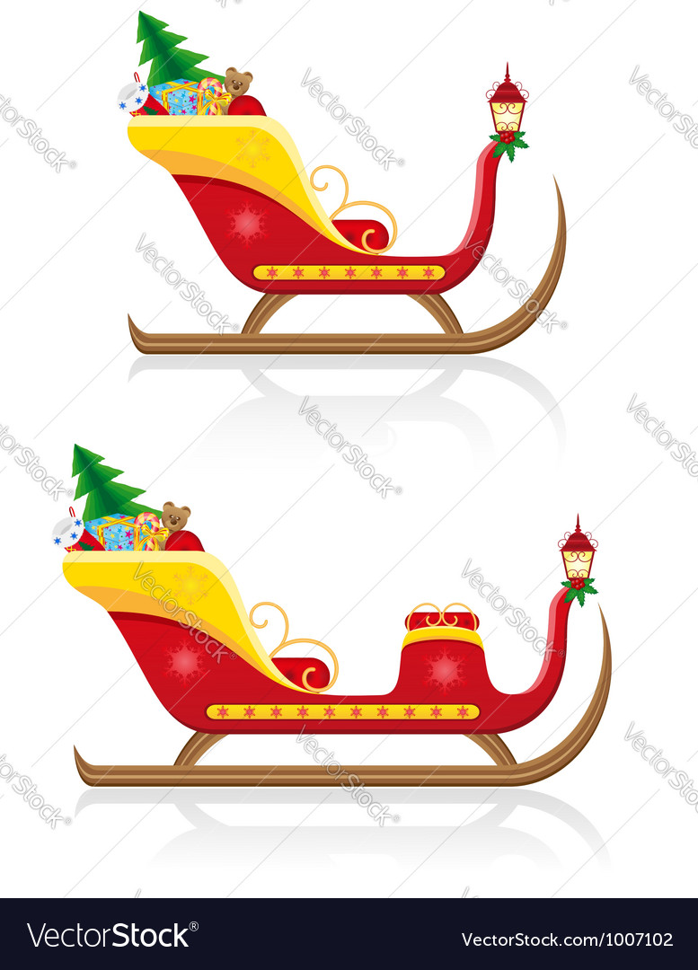 Christmas santa sleigh 03 vector | Price: 3 Credit (USD $3)