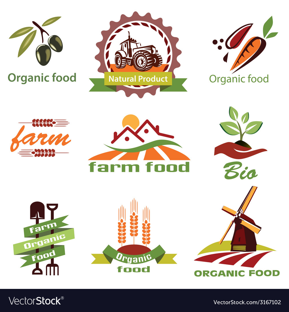 Farm agriculture icons labels collection set1 vector | Price: 1 Credit (USD $1)