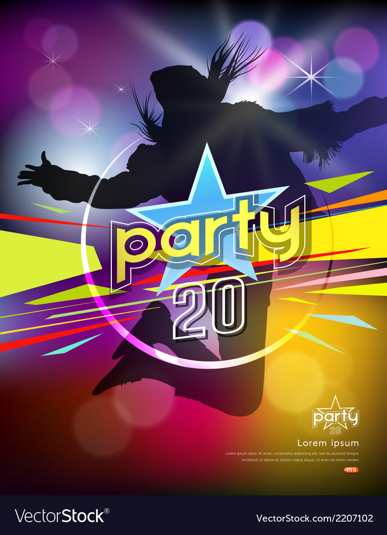 Girl jumping colorful party design vector | Price: 1 Credit (USD $1)