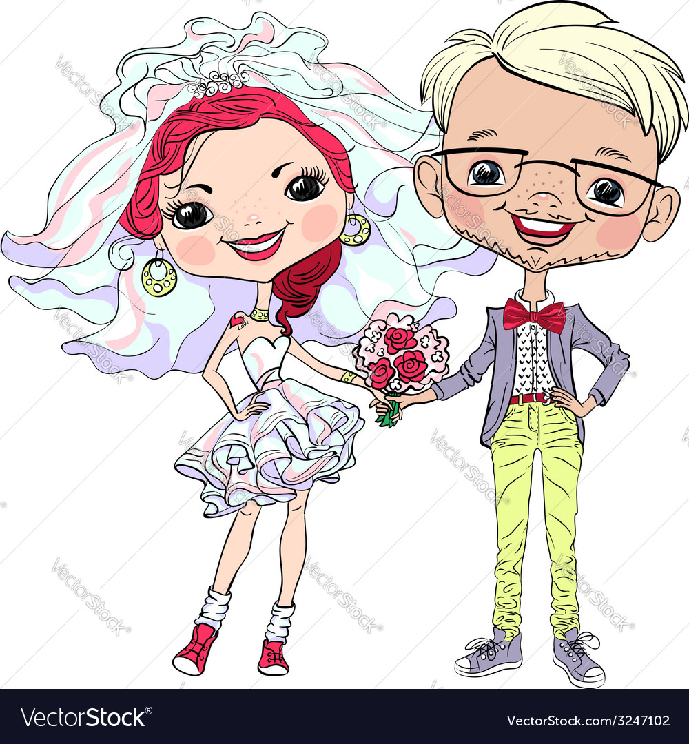 Happy hipster bride and groom vector | Price: 1 Credit (USD $1)