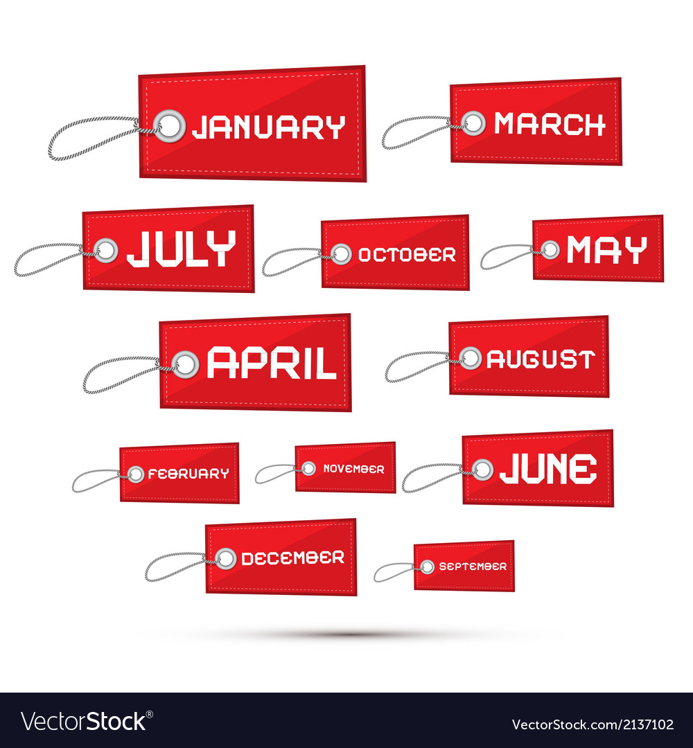 Months of the year red sale paper labels tags set vector   Price: 1 Credit (USD $1)