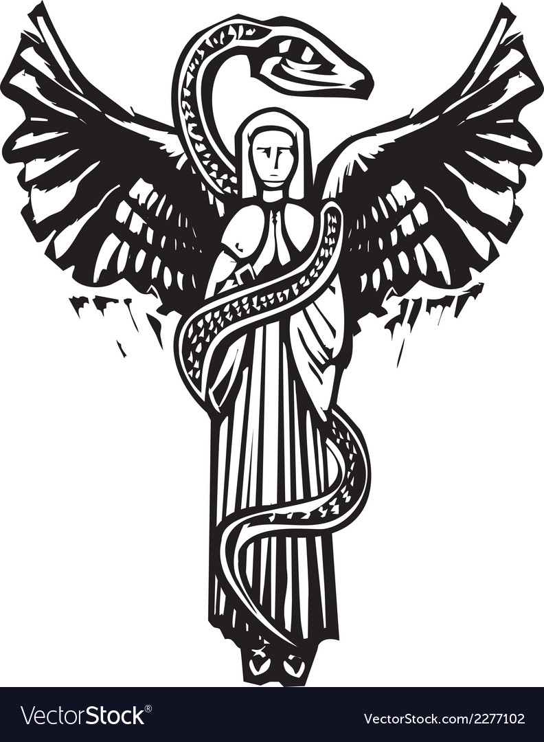 Winged angel and serpent vector   Price: 1 Credit (USD $1)
