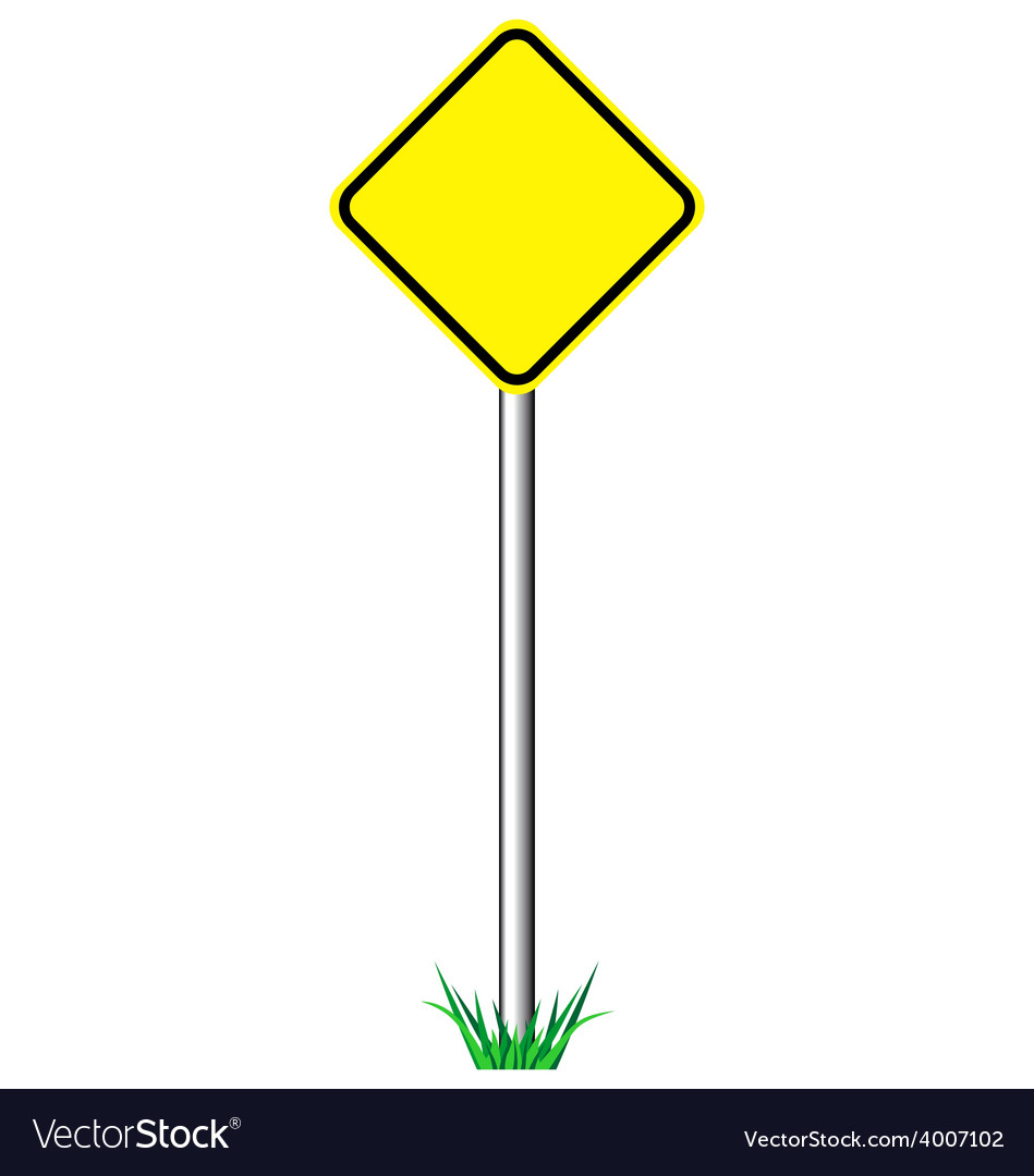 Yellow warning information road signs with grass vector | Price: 1 Credit (USD $1)