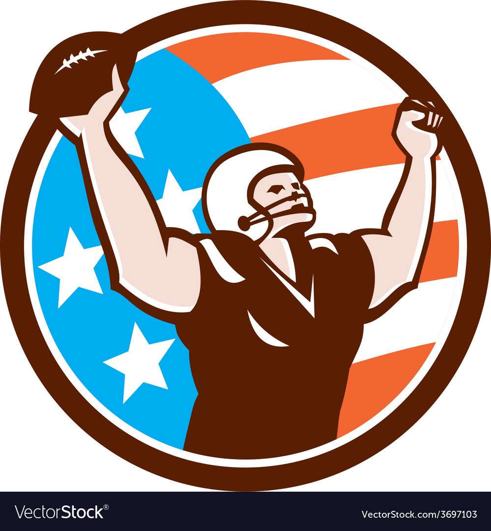 American football celebrating touchdown retro vector | Price: 1 Credit (USD $1)