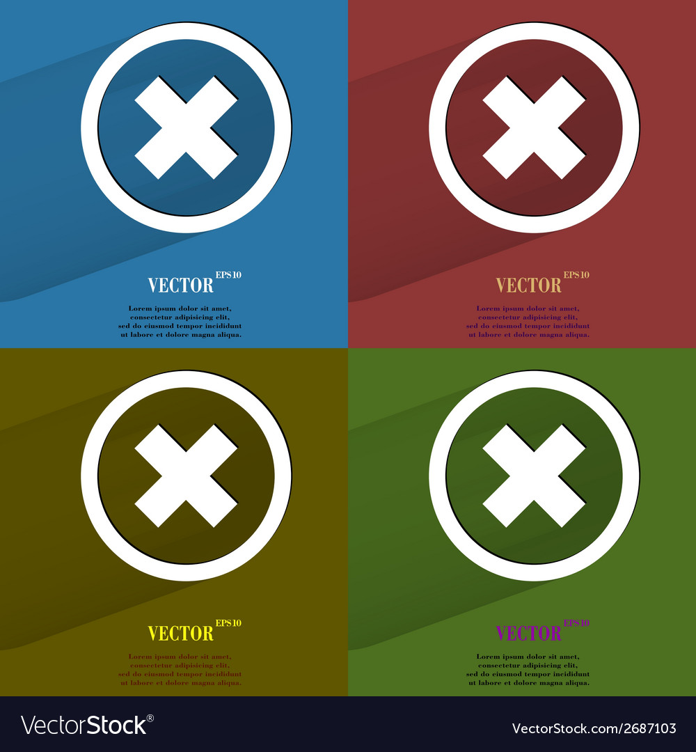 Color set cancel flat modern web button with long vector | Price: 1 Credit (USD $1)