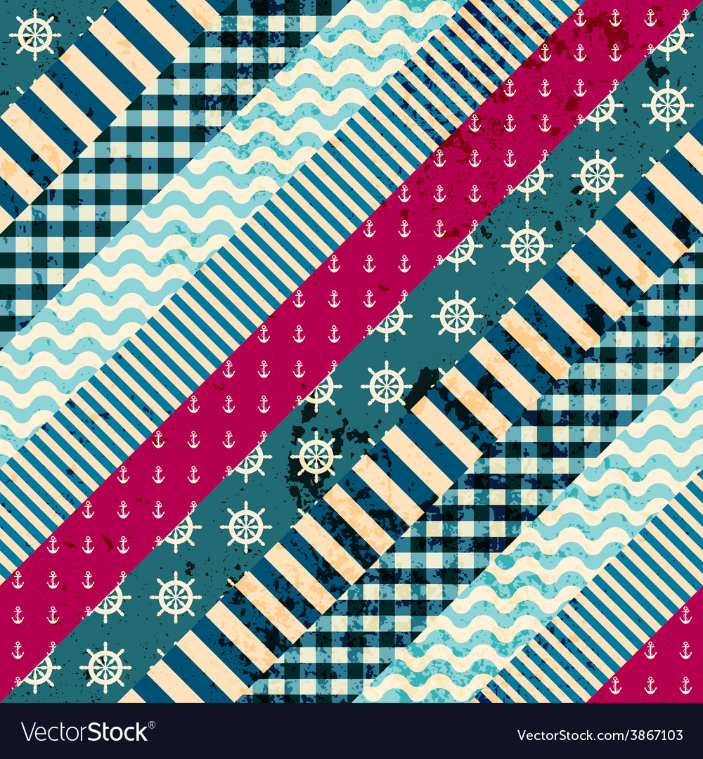 Diagonal patchwork pattern in nautical style vector | Price: 1 Credit (USD $1)