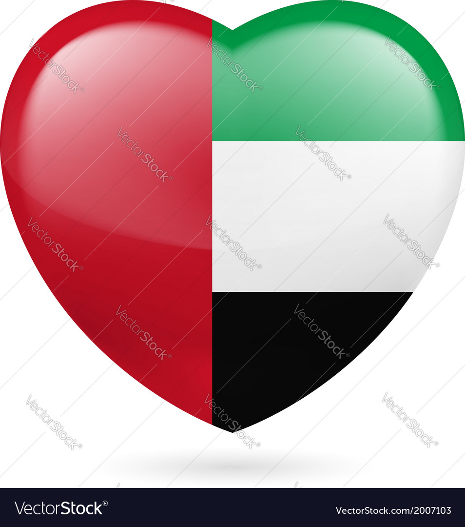 Heart icon of united arab emirates vector | Price: 1 Credit (USD $1)