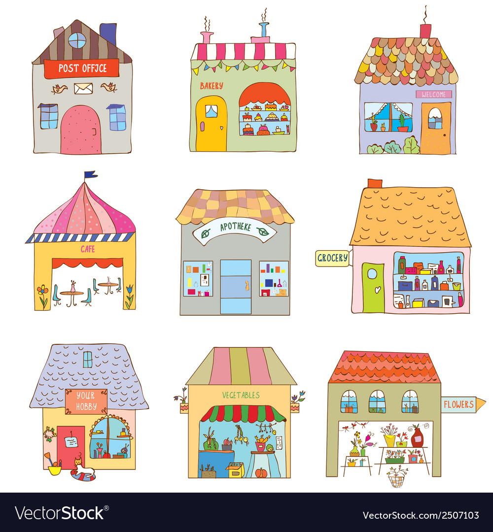 Houses of the funny town set - companies and vector | Price: 1 Credit (USD $1)