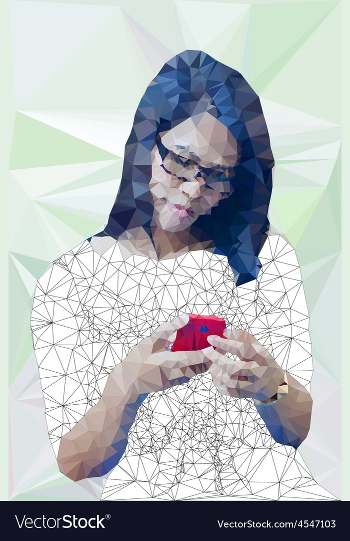Low poly of asian girl happily using mobile phon vector | Price: 1 Credit (USD $1)