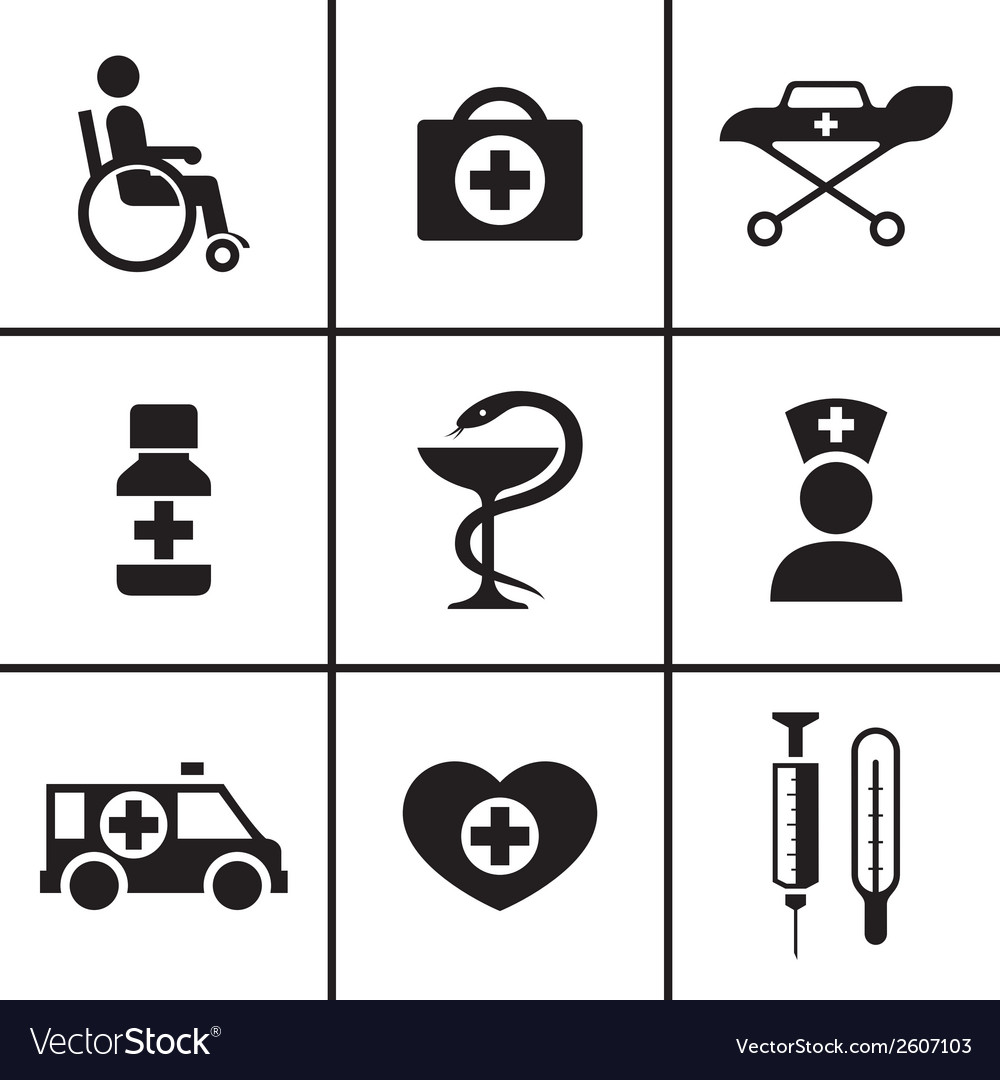 Medical health care icons set vector | Price: 1 Credit (USD $1)