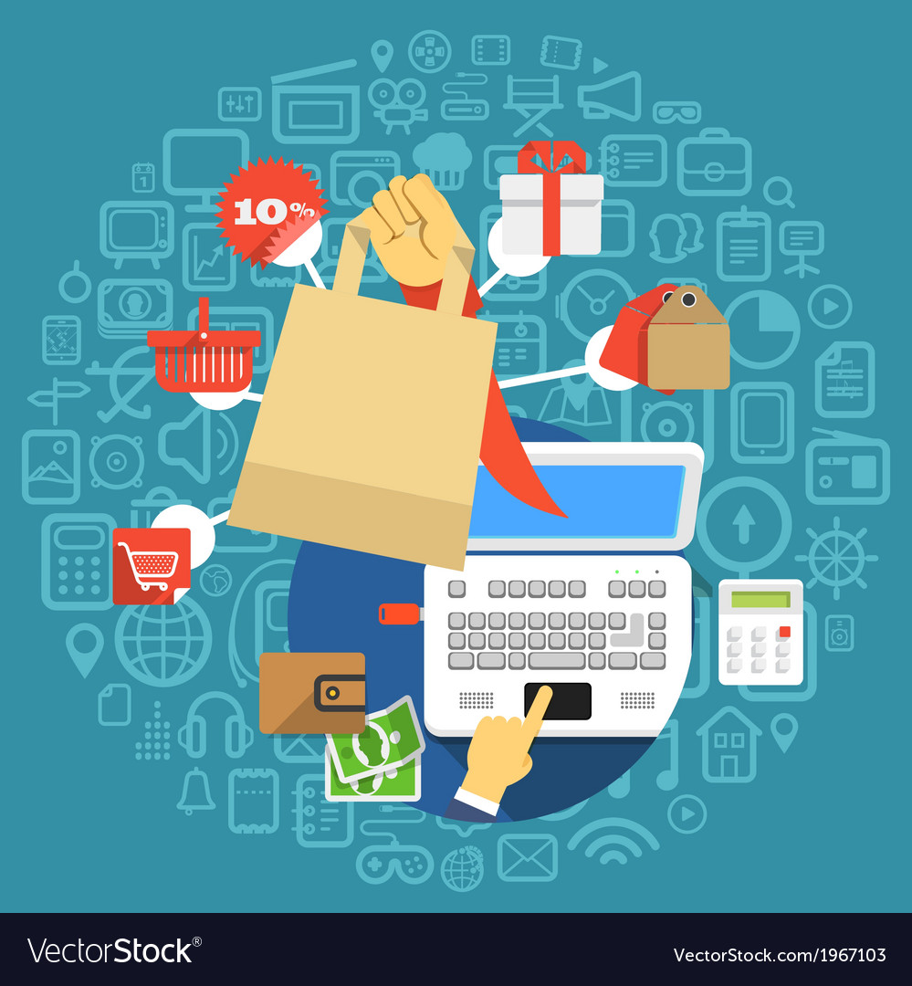 Modern digital shopping vector | Price: 1 Credit (USD $1)