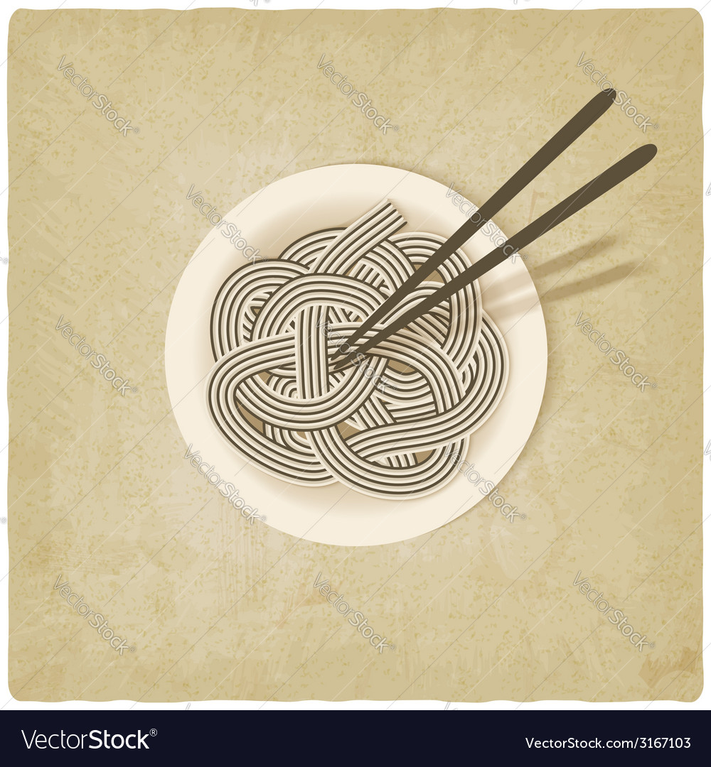 Noodles on plate old background vector | Price: 1 Credit (USD $1)