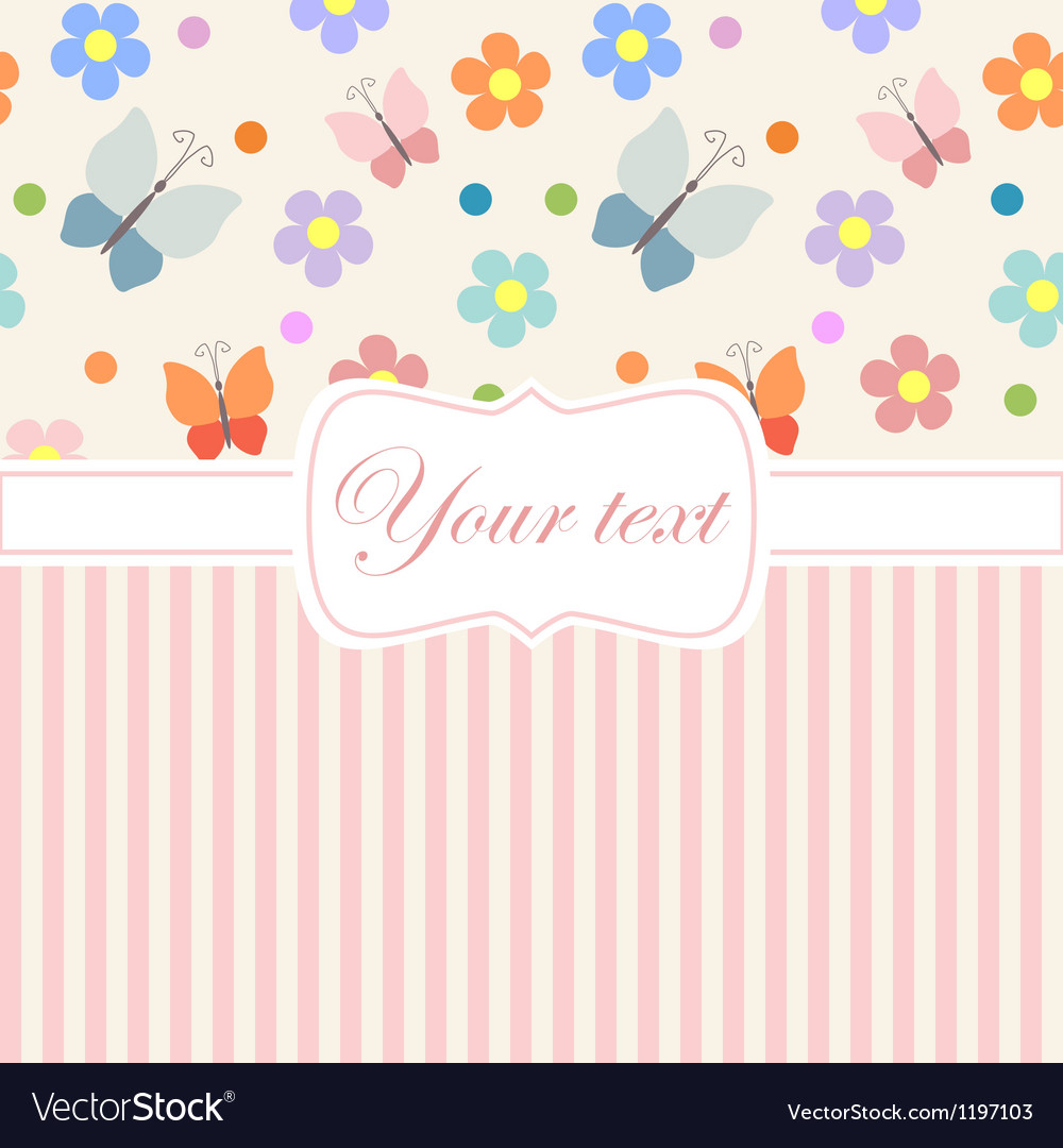 Pink card invitation with flowers and stripes vector | Price: 1 Credit (USD $1)