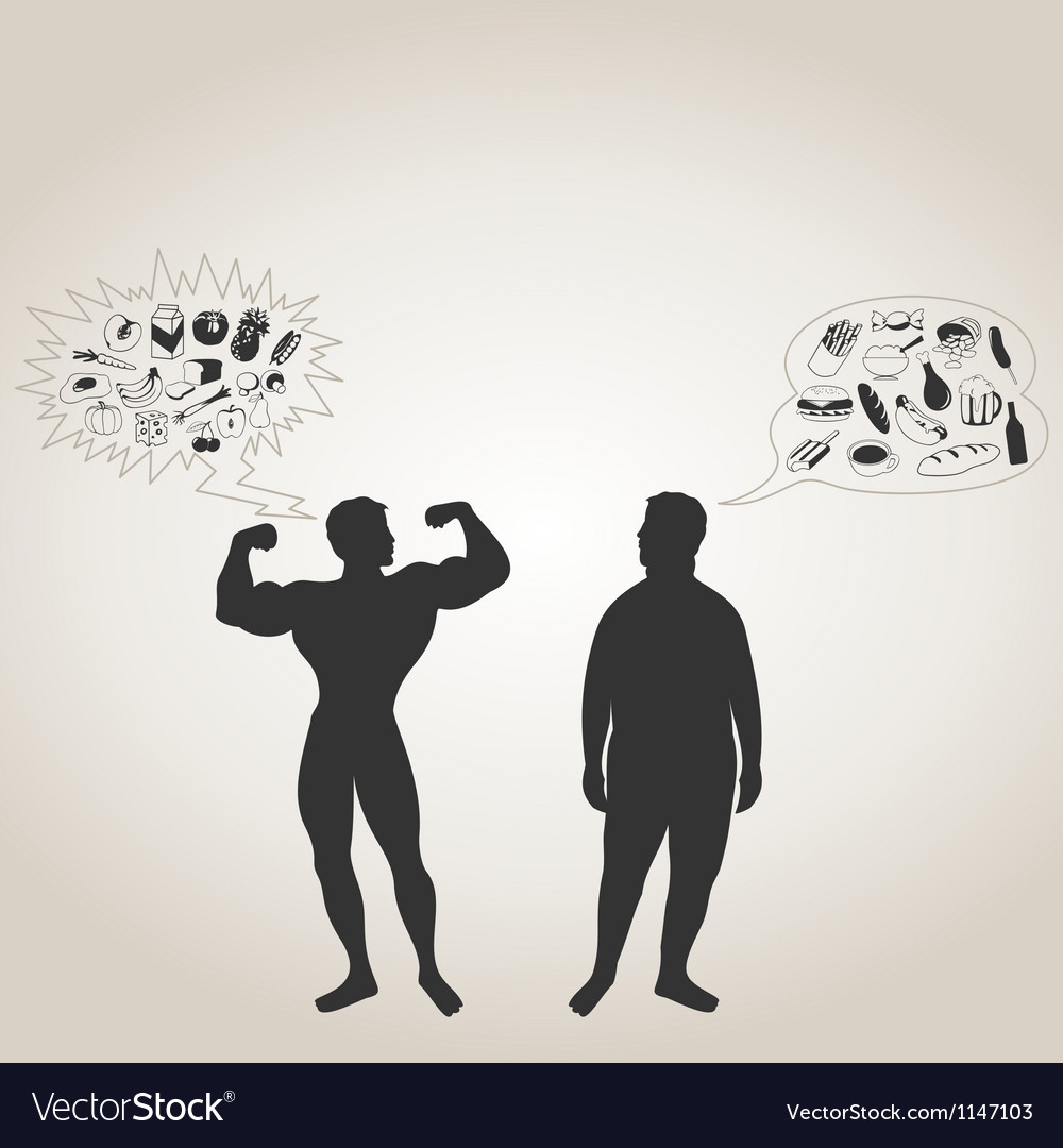 Sportsman and fat man vector | Price: 1 Credit (USD $1)