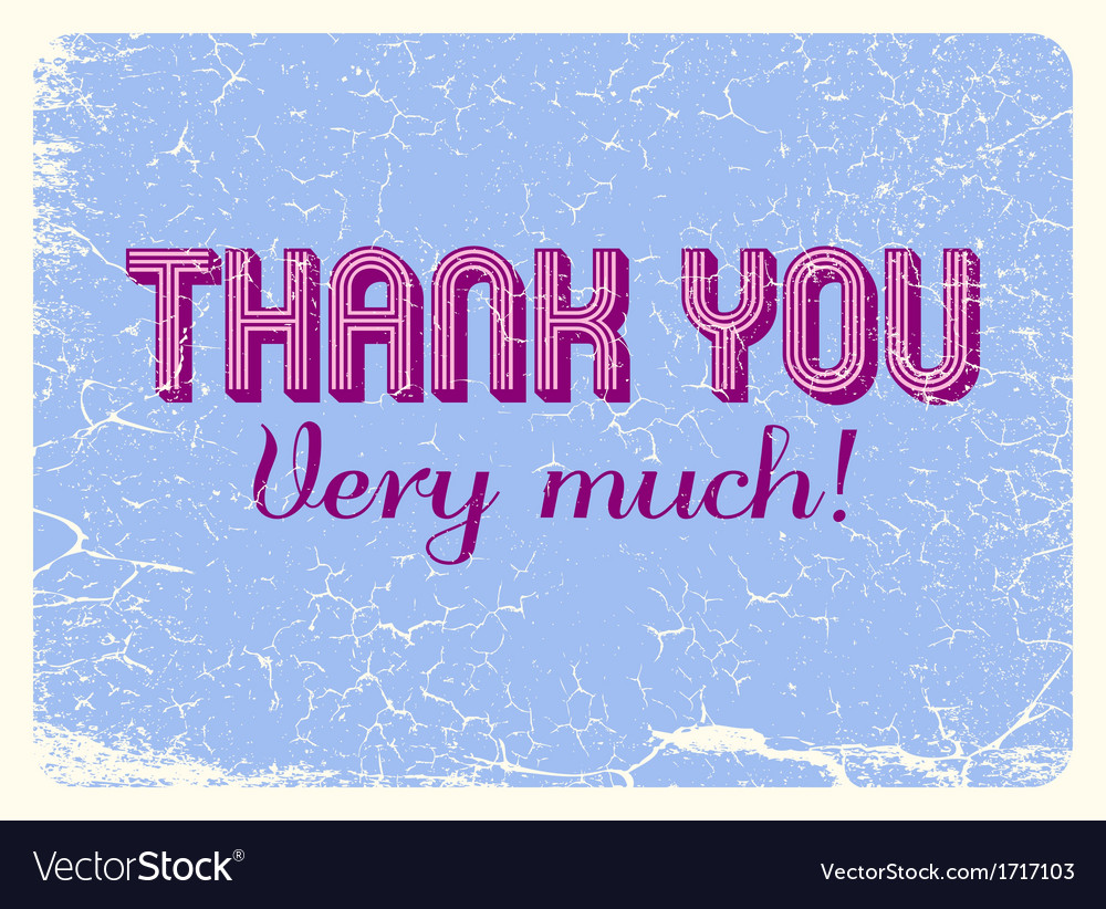 Vintage thank you card vector | Price: 1 Credit (USD $1)