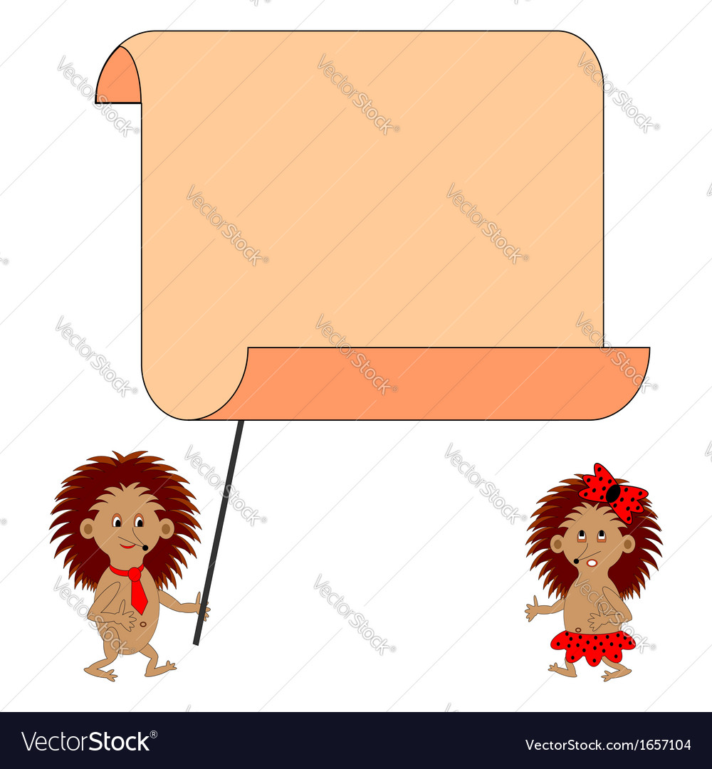 A couple of cartoon hedgehogs with a blank paper vector   Price: 1 Credit (USD $1)