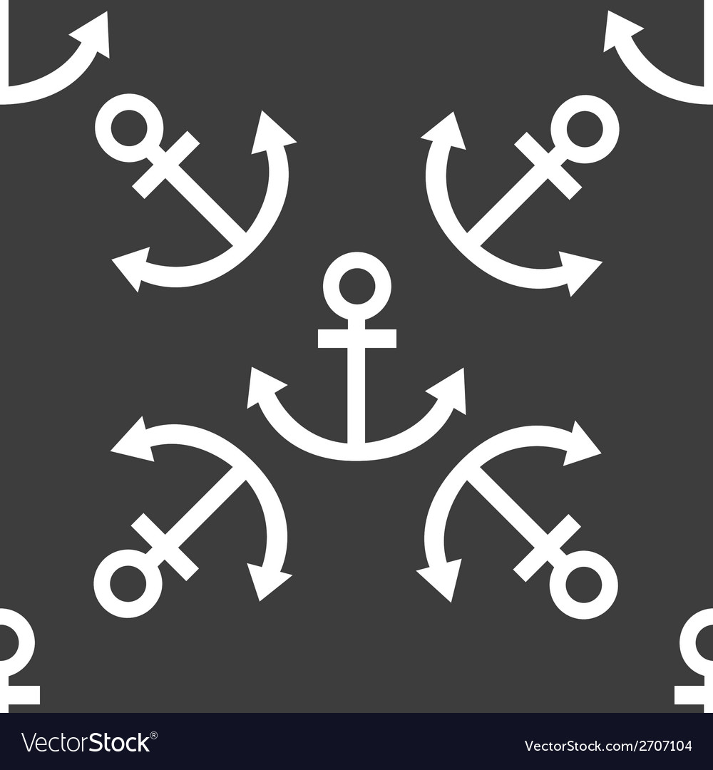 Anchor web icon flat design seamless pattern vector | Price: 1 Credit (USD $1)